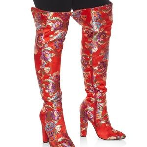Red appliqué chunky over the knee boots  7.5